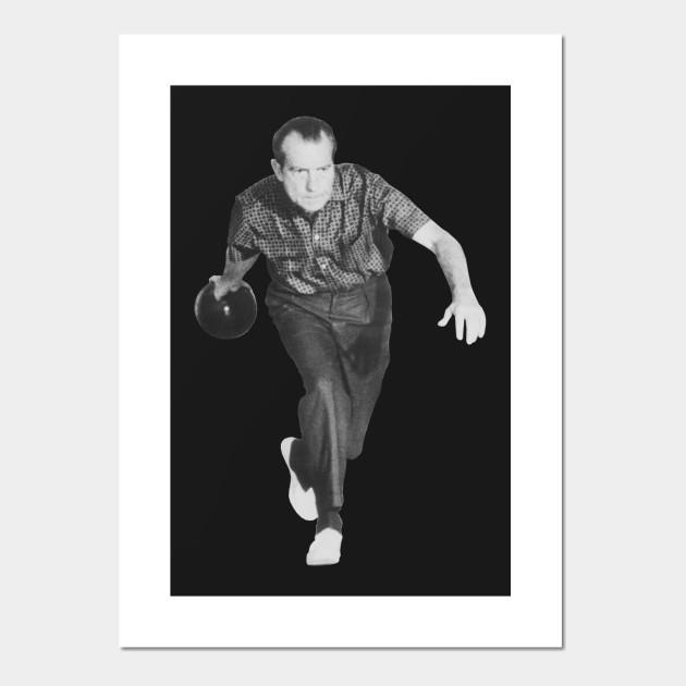 Richard Nixon Bowling   Poster Print