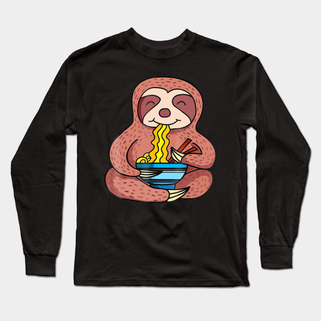 7e4a2d85 Funny Sloth Eating Ramen T Shirt For Men Women Kids Long Sleeve T-Shirt