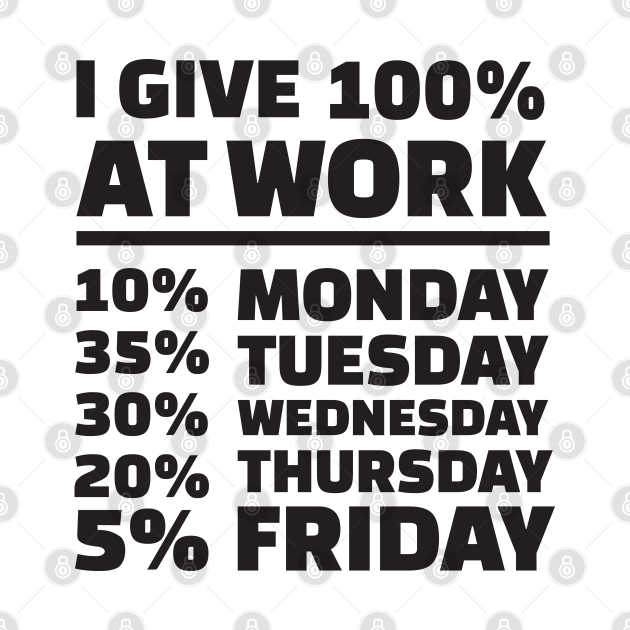 Humor Series - I Give 100% (One Hundred Percent) at Work