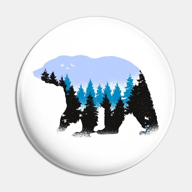 Wild Animal Nature Art Bear With Blue Trees