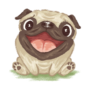 Happy pug dog t-shirts