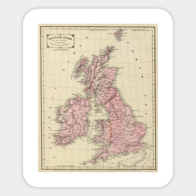 Vintage Map of The British Isles (1864) - British Isles Map ...