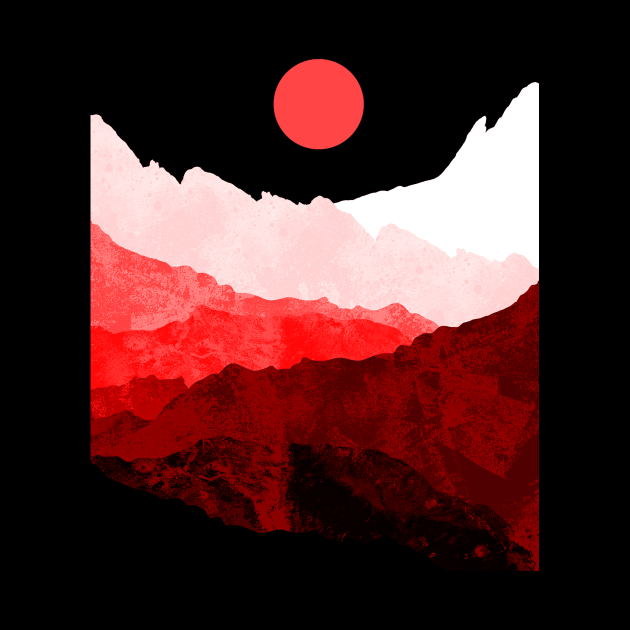 The red sun and hills