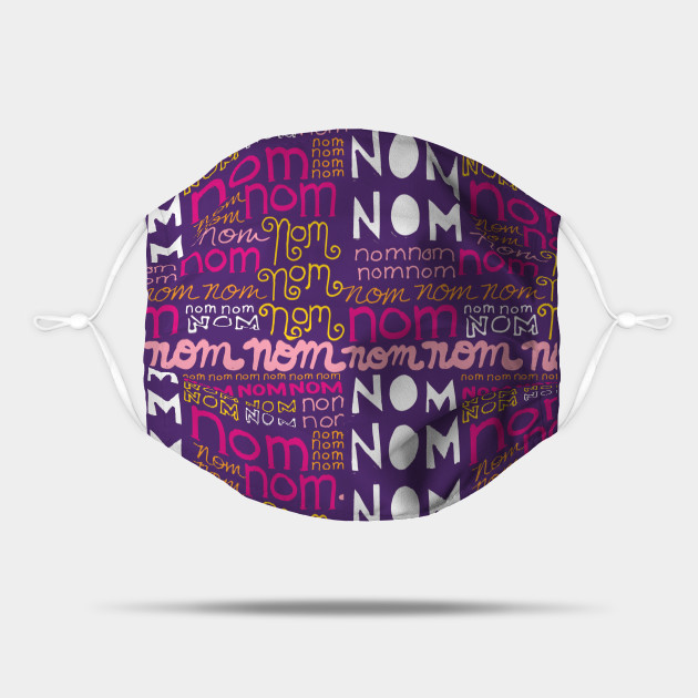 Nom Nom Nom - cute hand lettering pattern for the food lover