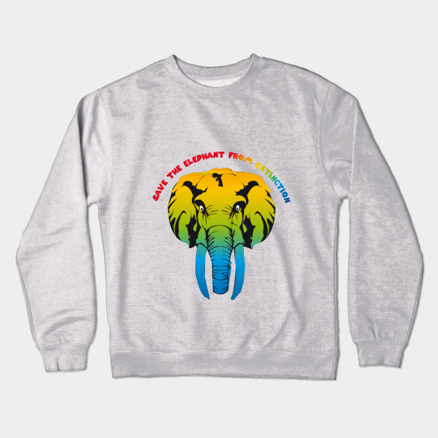 fbfe4b711 Save the elephant T-shirt - Elephant Design - Crewneck Sweatshirt ...