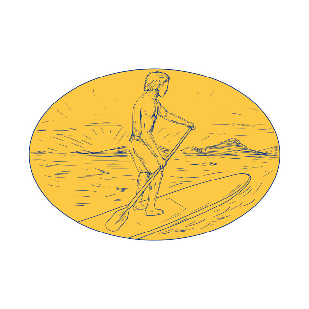 Dude Stand Up Paddle Board Oval Drawing