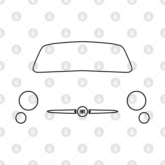 Fiat 500 outline graphic (black)