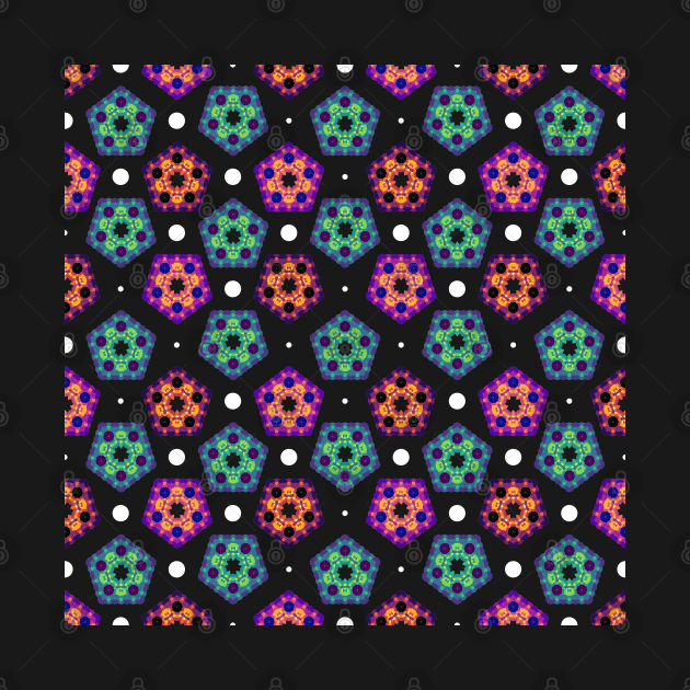 Abstract Pentagon Geometric Pattern   Red Yellow Green Red Purple Blue Black