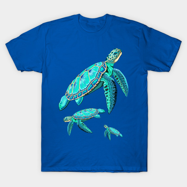 Sea Turtle Turquoise Oceanlife T-Shirt © BluedarkArt