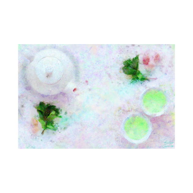Green Tea Still Life Impressionist Painting