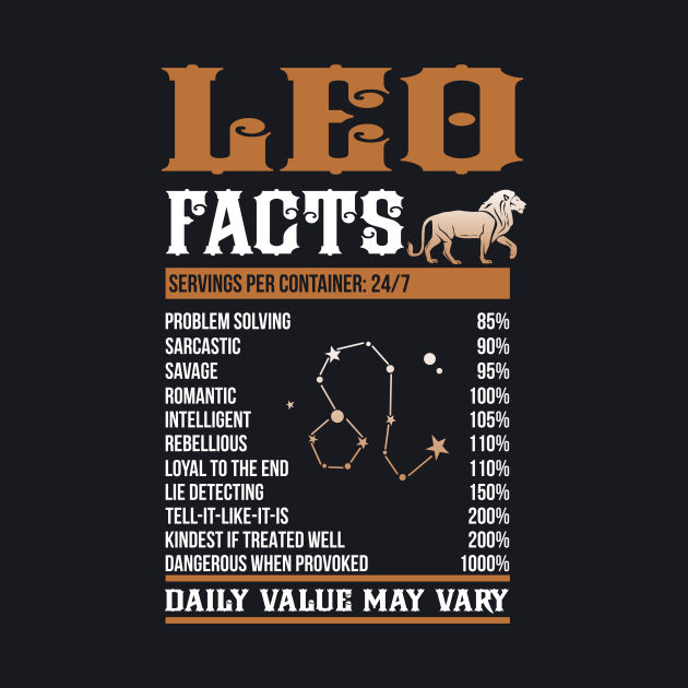 Leo Facts Zodiac Sign Shirt Birthday Gift