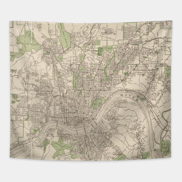 Vintage Map of Cincinnati Ohio (1915) - Cincinnati Map - Tapestry ...