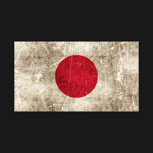 Vintage Aged and Scratched Japanese Flag