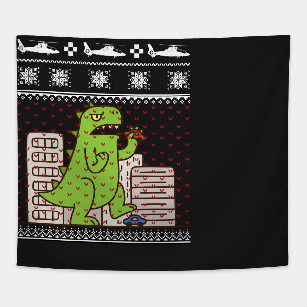 Godzilla Ugly Christmas Sweater Godzilla Tapestry Teepublic