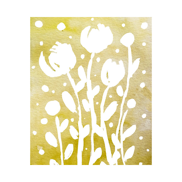 Whimsical watercolor flowers – yellow