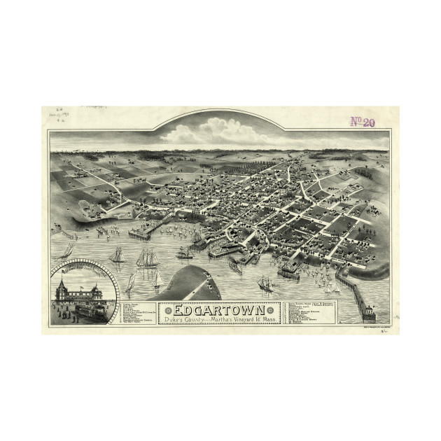Vintage Pictorial Map of Edgartown MA (1886)