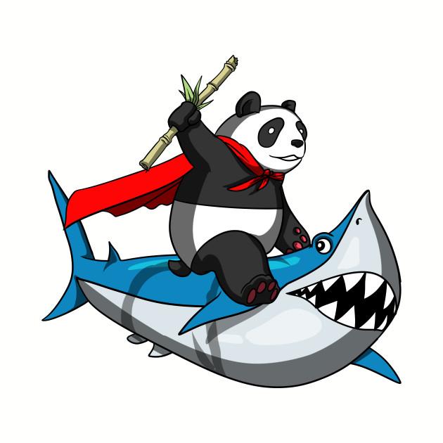 Panda Bear Riding Shark Funny Cartoon Fantasy