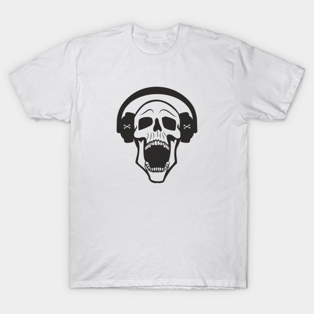 Skeleton Skull Headphones Music Women T-shirt S-3XL