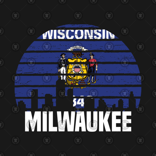 Milwaukee Wisconsin WI Group City Silhouette Flag