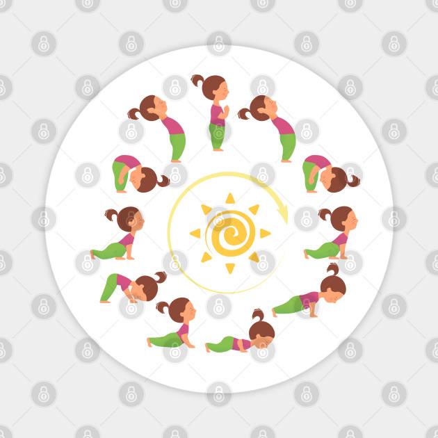 Morning Yoga Surya Namaskar Sun Salutation Yoga Sun Salutation Magnet Teepublic