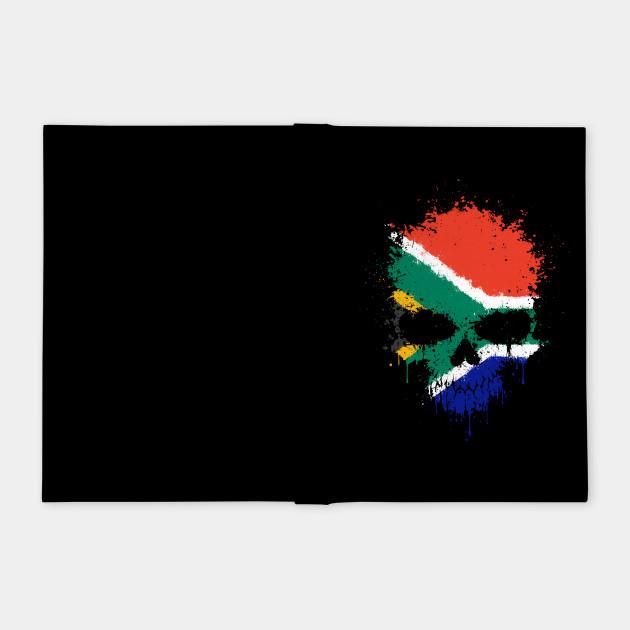 Chaotic South African Flag Splatter Skull