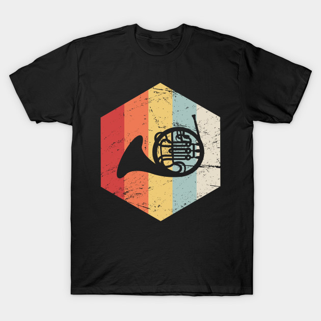 47576a0d Retro Vintage French Horn Marching Band Icon - French Horn - T-Shirt ...