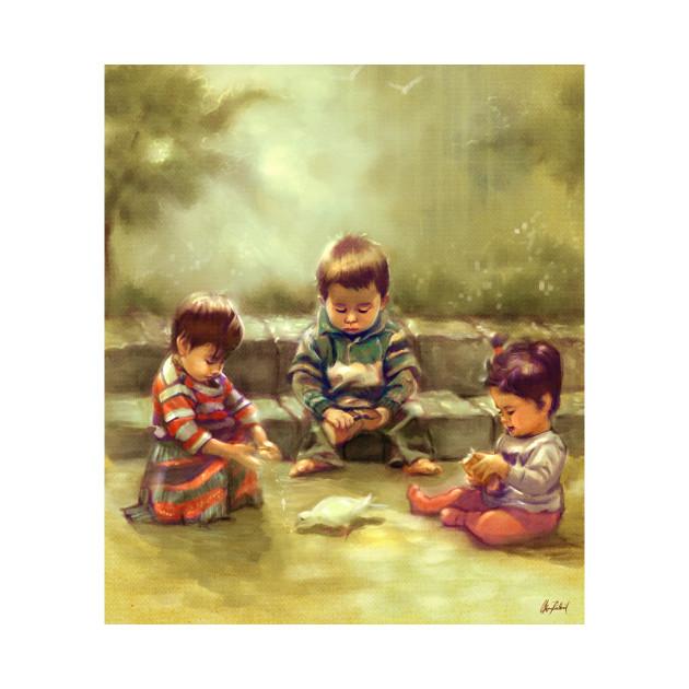 Three kids feeding a pidgeon