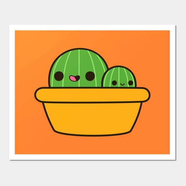 Cute cactus in yellow pot - Cactus - Wall Art   TeePublic