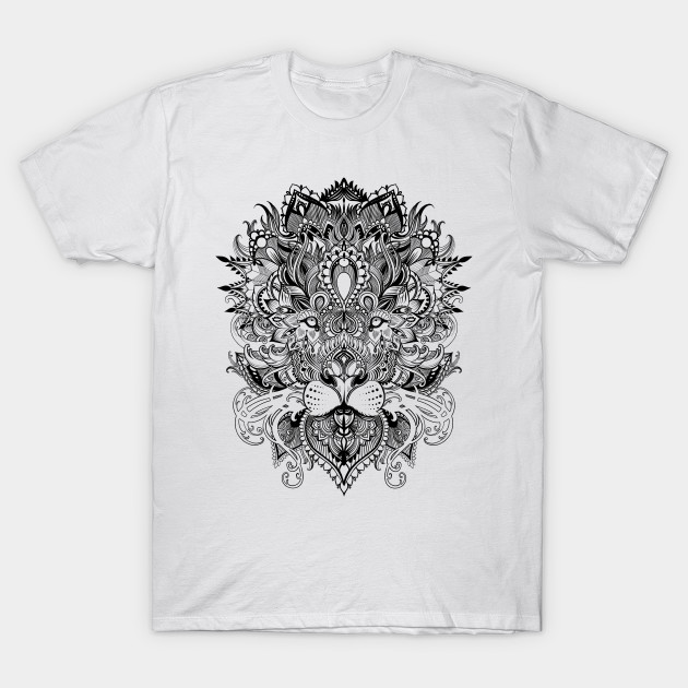 Line Drawing Shirt : Black and white lion mandala pattern line art drawing