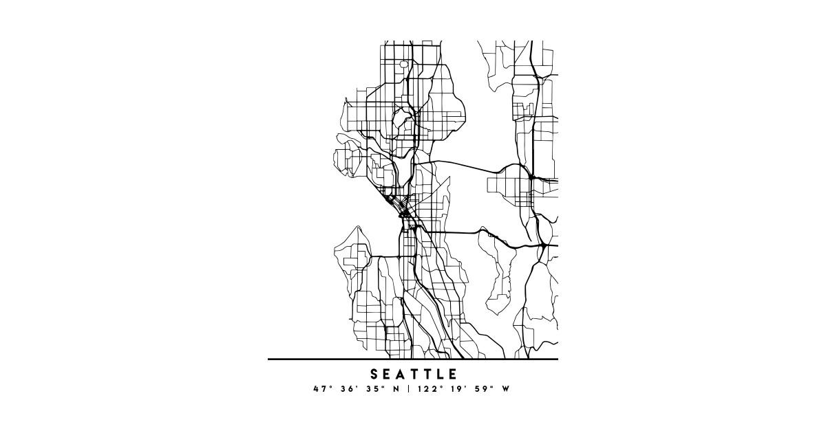 Seattle Washington Black City Street Map Art Seattle T Shirt