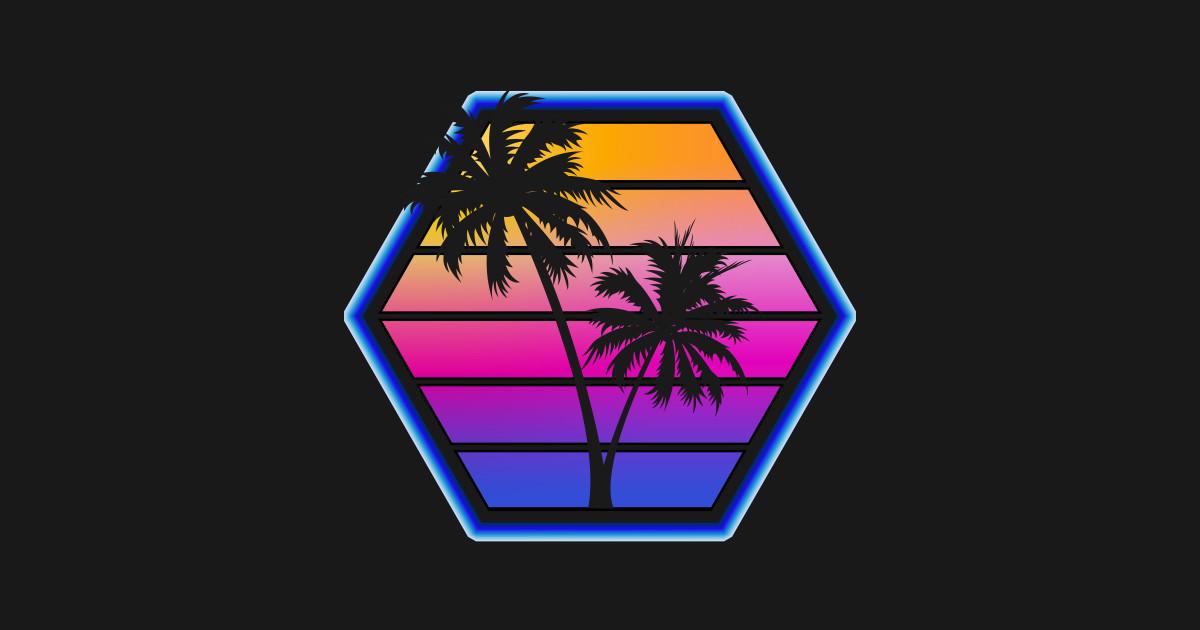 Synthwave Retro Hex Sunset Silhouette Design - Vaporwave ...