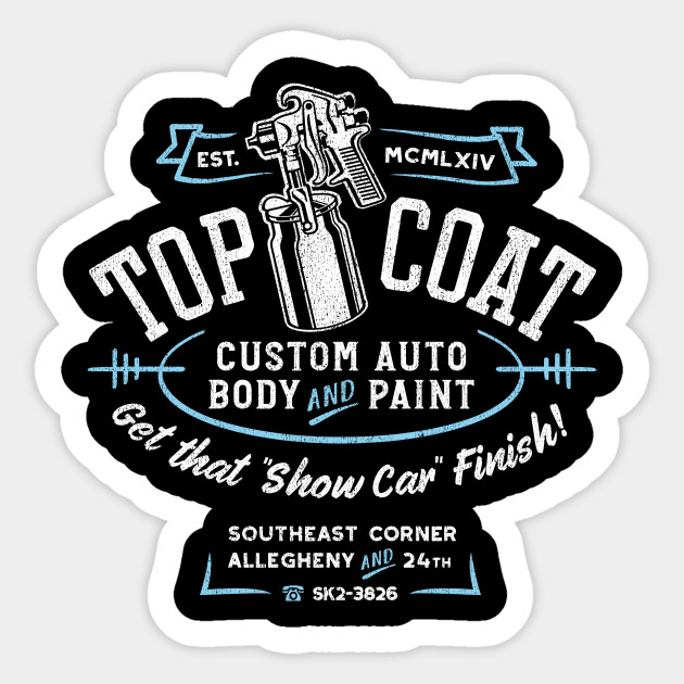 Top Coat Custom Car Paint Shop Hot Rod Sticker Teepublic