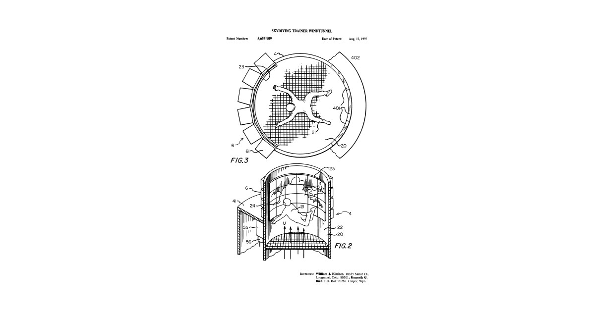 indoor skydiving simulator patent print t-shirt