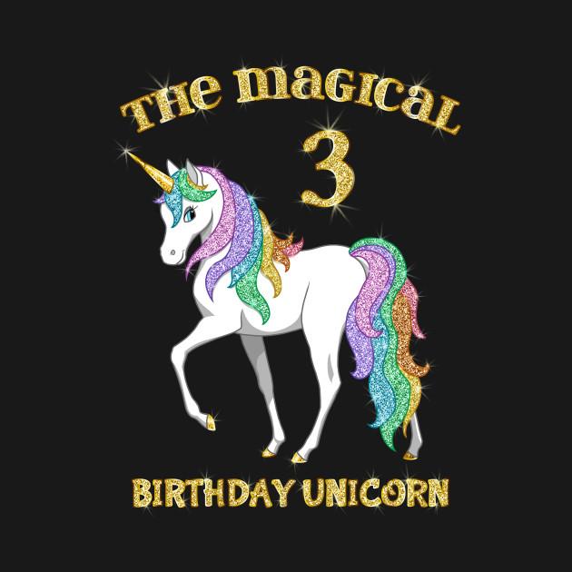 Cute Rainbow Gold Unicorn 3rd Birthday Girl