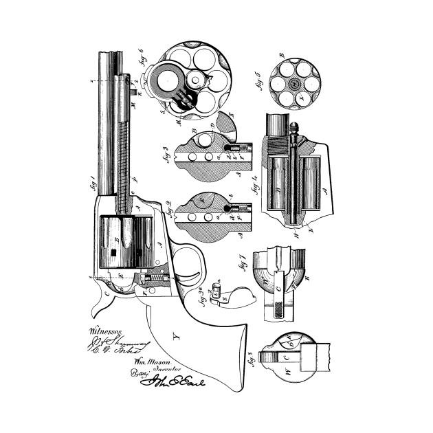 Revolving Firearm Vintage Patent Hand Drawing