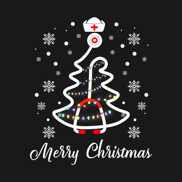 Nurse Christmas Svg.Merry Christmas Stethoscope Nurse Christmas Tree Xmas