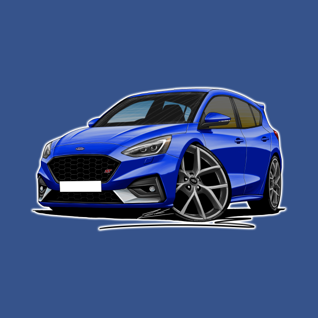 Ford Focus (Mk4) ST Blue Car Caricature