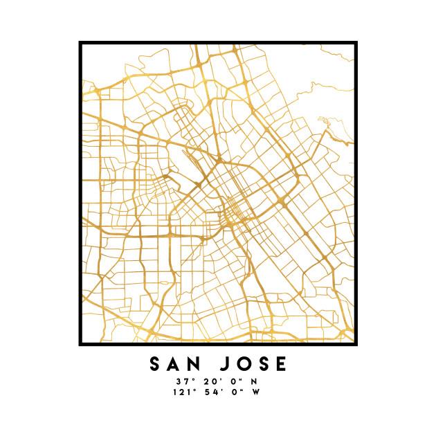 SAN JOSE CALIFORNIA CITY STREET MAP ART San Jose Onesie TeePublic