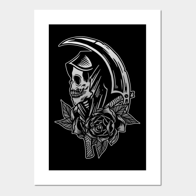 aae122710e6b0 Grim Reaper Scythe Death Skull with Roses Vintage Tattoo Flash American  Traditional ...