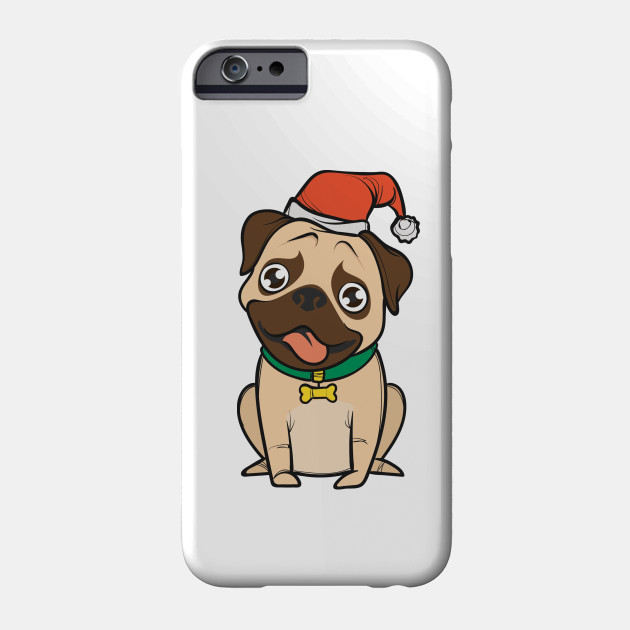 Pug dog with Santa hat says merry Christmas for girls boys Phone Case