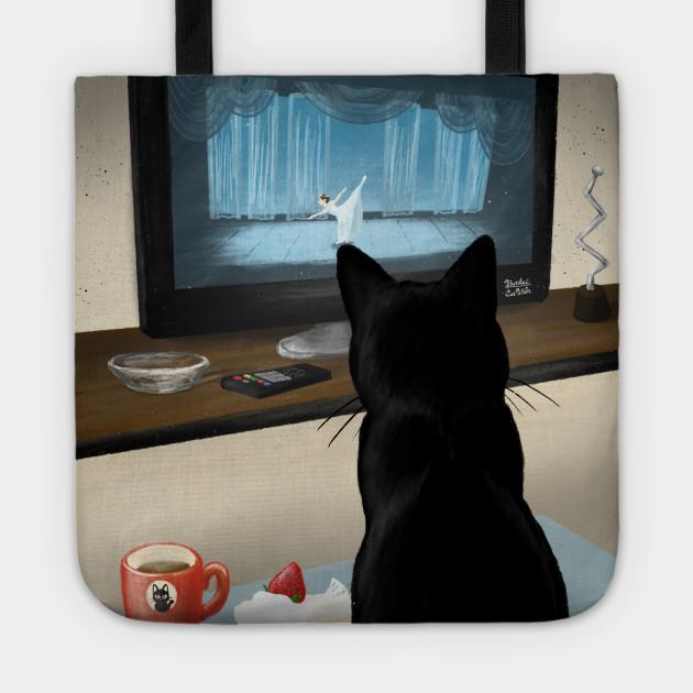 Watching TV - Cat - Tote   TeePublic