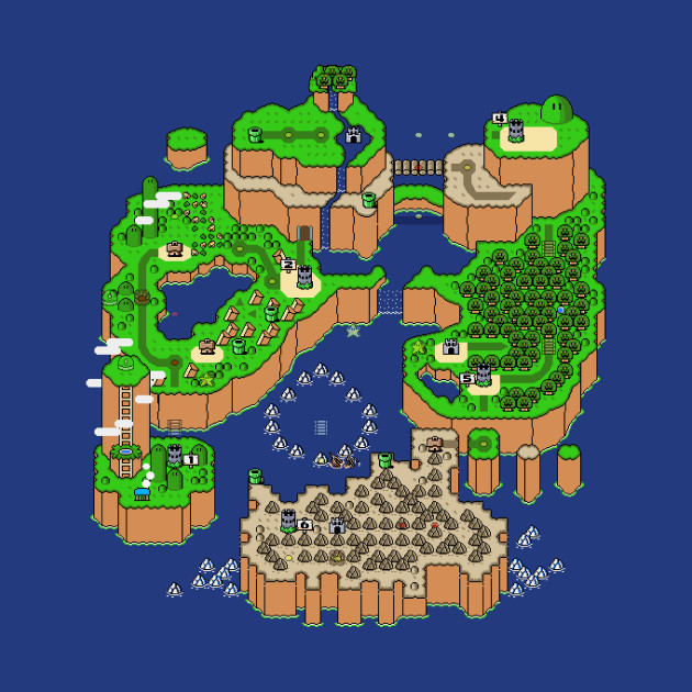 Super Mario World Map - Super Mario - T-Shirt | TeePublic