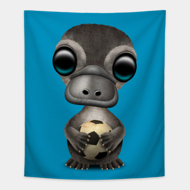Cute Baby Platypus With Football Soccer Ball