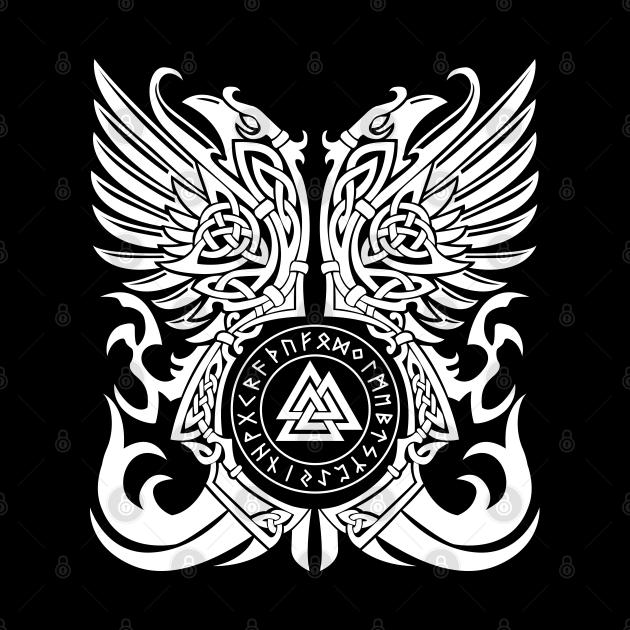 Viking Rune Symbol Valknut Odins Ravens Huginn Muninn Odin