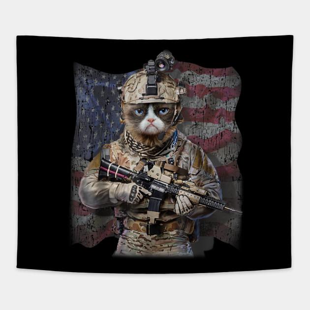 USA America Patriot Disgruntle Cat as Army Commando T-Shirt