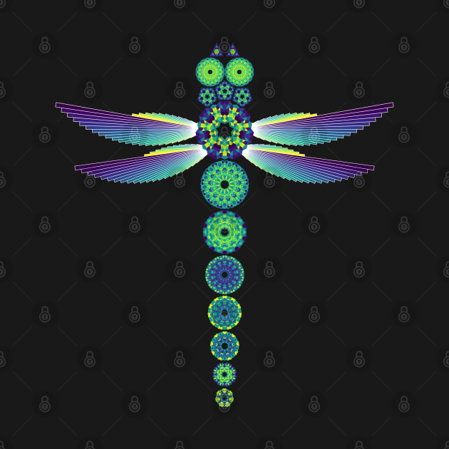 Mandala Dragonfly   Citrine Emerald Sapphire Yellow Green Blue (Black)