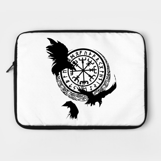 Viking Odin Raven Laptop Sleeve Funny Full Printed Notebook Case Dust-Proof Polyester Tablet Case for College Students White 15inch