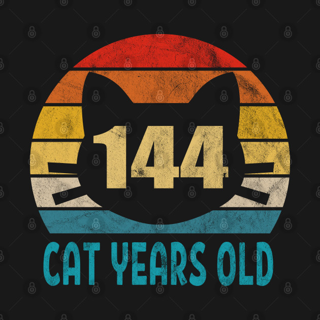 144 Cat Years Old Retro Style 32nd Birthday Gift Cat Lovers