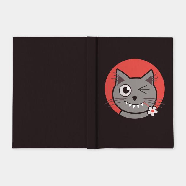 winking kitty cyte kitty notebook teepublic
