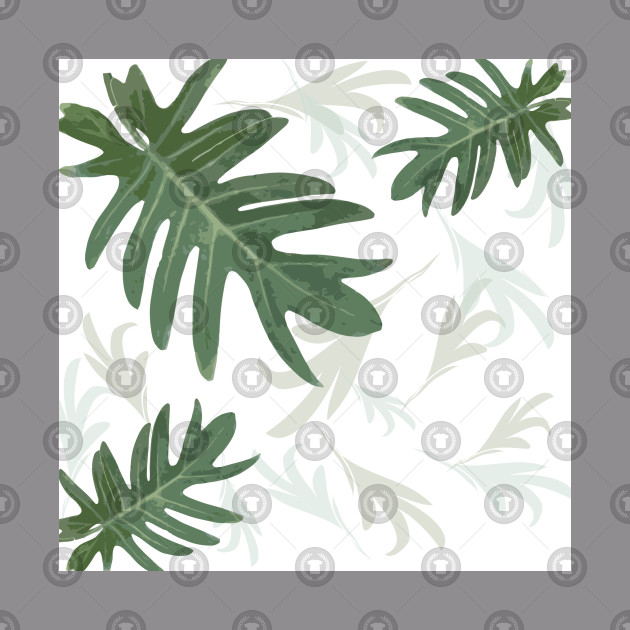 Autumn fall green greenvibes on white tropical palm leaves